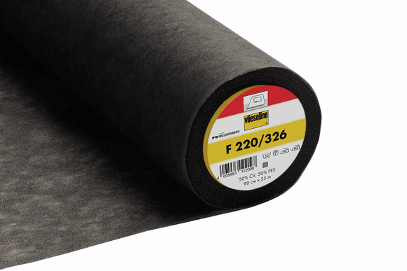F220 Medium Weight Iron-On Interlining Black 90cm wide