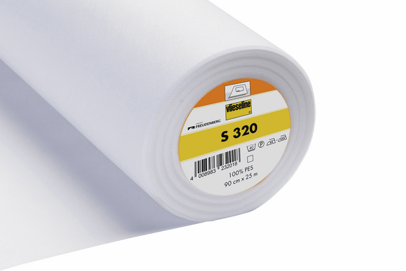 S320 Heavyweight Iron-On Nonwoven Flexible Interfacing White 30cm wide Vilene