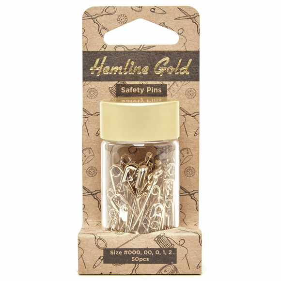 Safety Pins Assorted Sizes Gold (pack of 50) by Hemline Gold
