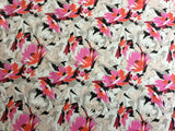Orange/Pink Flowers on Stretch Cotton
