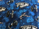 Star Wars Blue Ships Licensed 100% Cotton