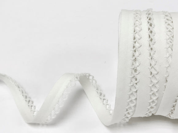 Bias Binding 12mm with Lace Edge in White