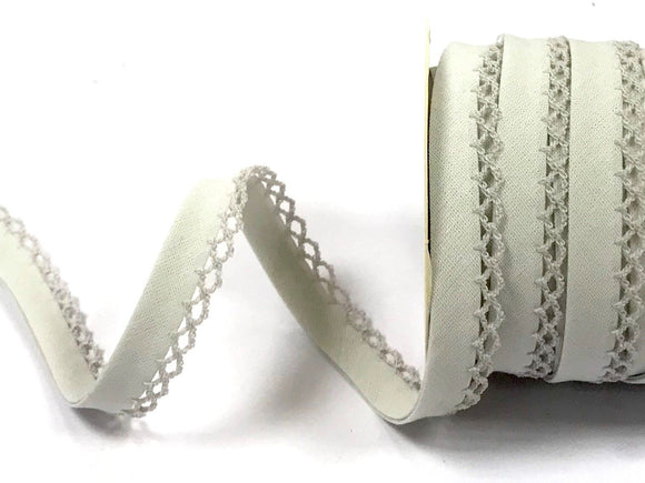 Bias Binding 12mm with Lace Edge in Silver Grey