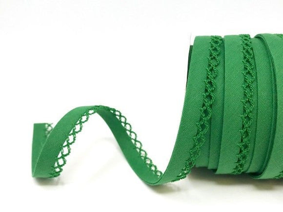 Bias Binding 12mm with Lace Edge in Emerald Green