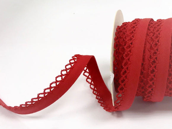Bias Binding 12mm with Lace Edge in Red