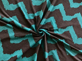 Jersey Chevron Stripe in Black/Teal