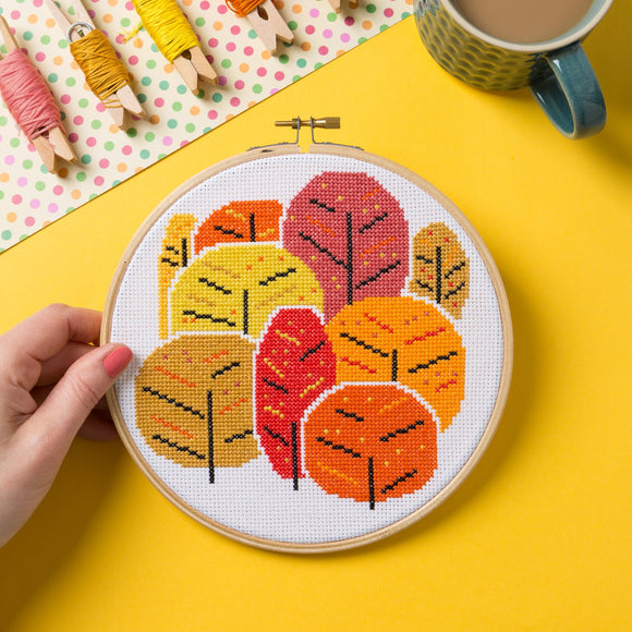 Hawthorn Handmade Cross Stitch - Autumn Trees