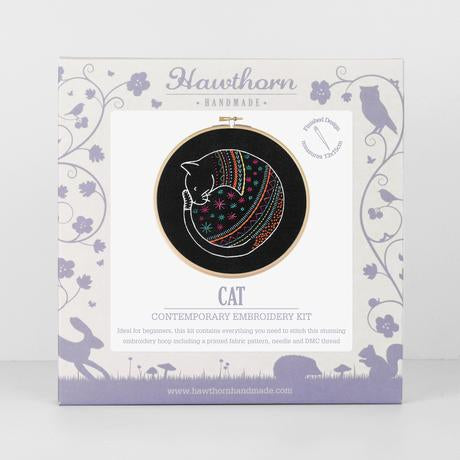 Hawthorn Handmade Embroidery Kit - Cat on Black