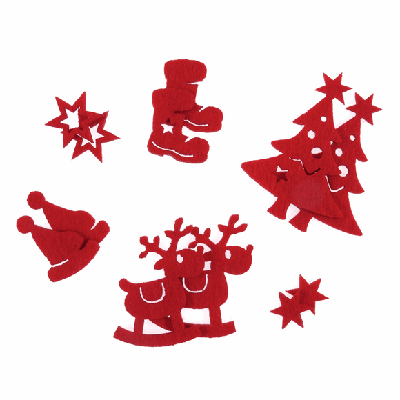 Felt Shapes Christmas Assorted in Red (pack of 12)