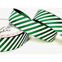Ribbon Grosgrain 25mm Candy Stripe in Green