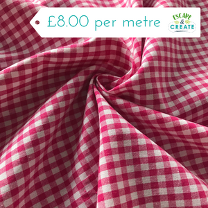 "Gingham 1/4"" cerise pink 100% Cotton"