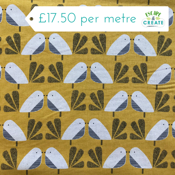 Now £16 p/m. Nesting Birds Mustard Birds Cotton Linen