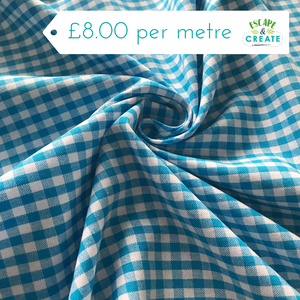 "Gingham 1/4"" 100% Cotton in Turquoise (140cm wide)"