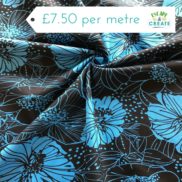 Blue and Black Floral Cotton Lawn