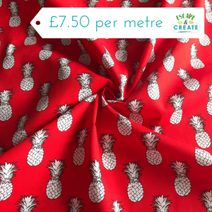 Pineapples on Red Cotton