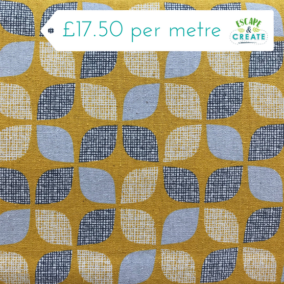 Now £16 p/m. Nesting Birds Mustard Leaves Cotton Linen