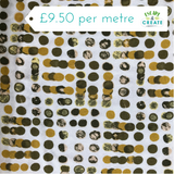 Mustard and Sage Green Abstract Viscose Jersey