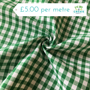 "Gingham 1/4"" 100% Cotton in Green (110cm wide)"