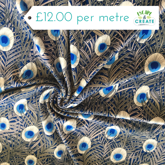 Peacock Feathers Viscose Jersey Blue/Silver