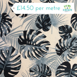 Dark Blue Tropical Leaves Canvas Cotton
