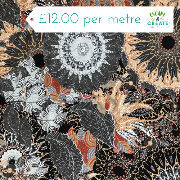 Tan and Grey Mandala Viscose Jersey