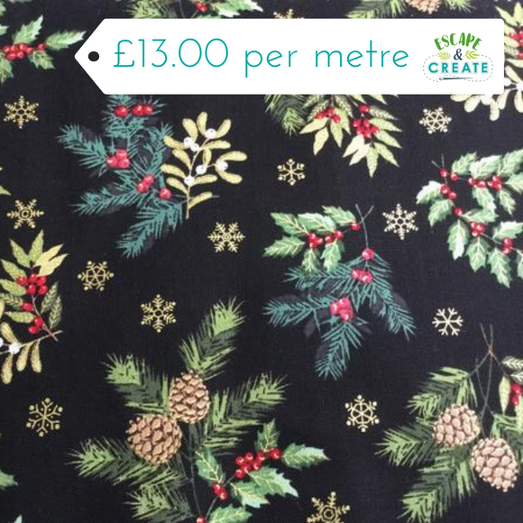 Now £10.40 p/m Foliage Scatter Black by Makower