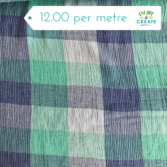 Mint and Blue Checked Linen