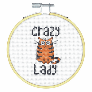 Counted Cross Stitch Kit with Hoop - Crazy Cat Lady