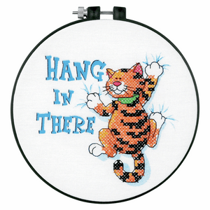 Cross Stitch Kit with Hoop (Counted)- Hang in There