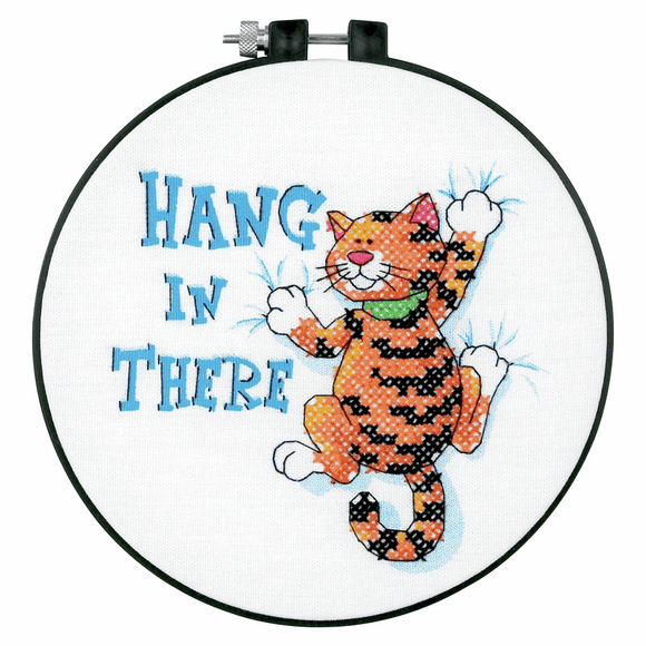 Counted Cross Stitch Kit with Hoop - Hang in There