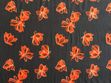 Red Flower on Navy 100% Viscose