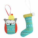 Felt Sewing Kit - Christmas Tree Decoration - Stocking & Owl