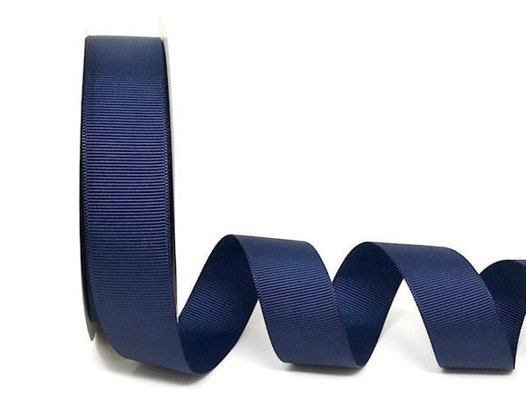 Ribbon Grosgrain 25mm Plain Col 370 Navy