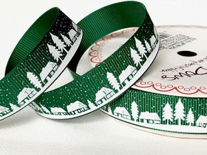 Ribbon Grosgrain 16mm Village Scene on Green