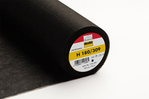 H180 Lightweight Iron-On Nonwoven Interfacing Black 90cm wide