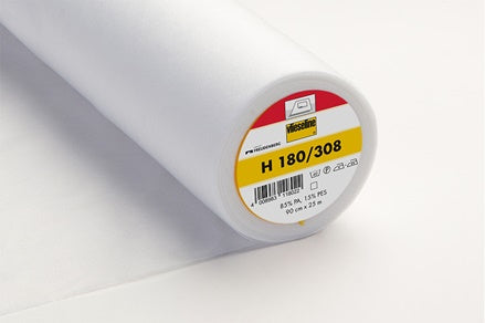 H180 Lightweight Iron-On Nonwoven Interfacing White 90cm wide