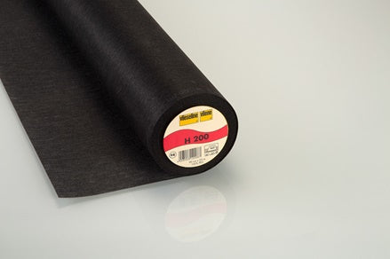 H200 Mediumweight Iron-On Nonwoven Interfacing Black 90cm wide