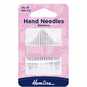 Hand Sewing Needles Betweens/Quilters Asstd Sizes 3-9 (pack of 20)