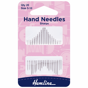 Hand Sewing Needles Sharps Size 5-10 (pack of 20)