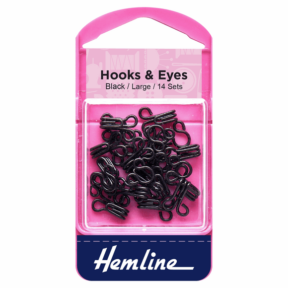 Hooks & Eyes Size 3 Large Black
