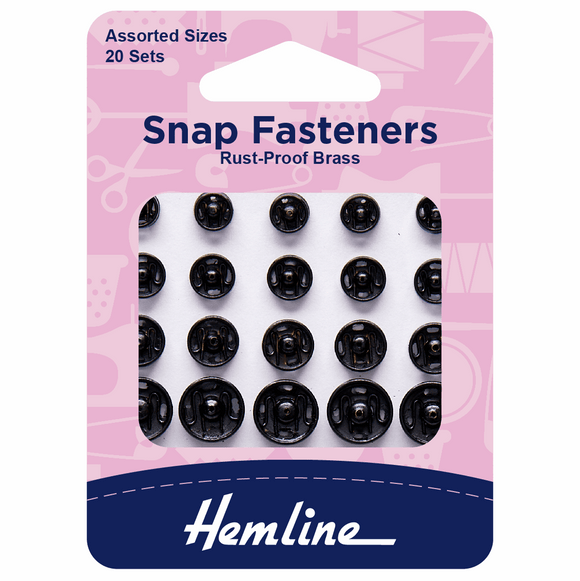 Snap Fasteners Assorted Sew On in Black (pack of 20)