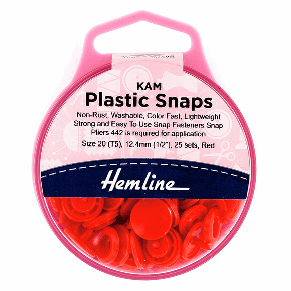 KAM Plastic Snaps 12.4mm Size 20/T5 Red (25 sets)