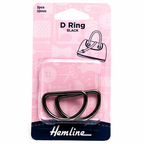 D Rings 32mm Nickel Black - 2 pieces