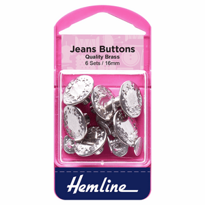Buttons Jeans 16mm Nickel (6 sets)
