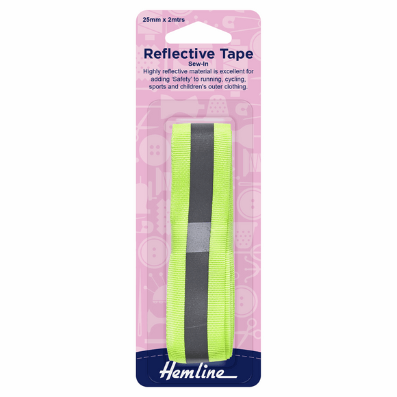 Reflective Sew In Tape 2m x 25mm in Yellow