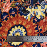 Navy and Rust Mandala Viscose Jersey