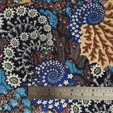 Navy Brown Floral Viscose Twill