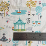 A Walk in The Park Scene Grey 100% Cotton by Makower