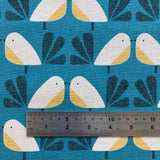 Nesting Birds Emerald Birds Cotton Linen