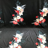 John Kaldor Ohio Digital Floral on Black Stretch Cotton Sateen